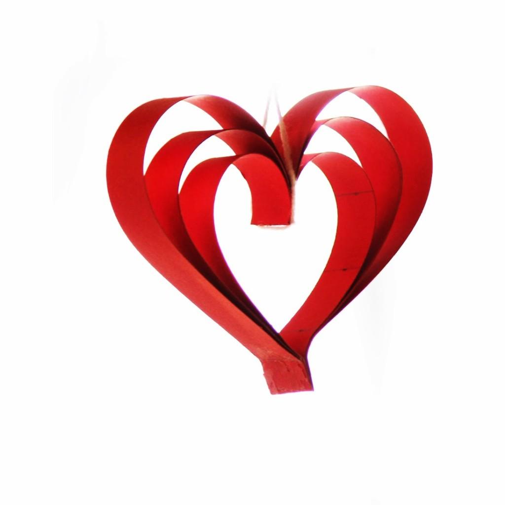 y para el trébol de corazones use tres corazones triples y una tira doble de
